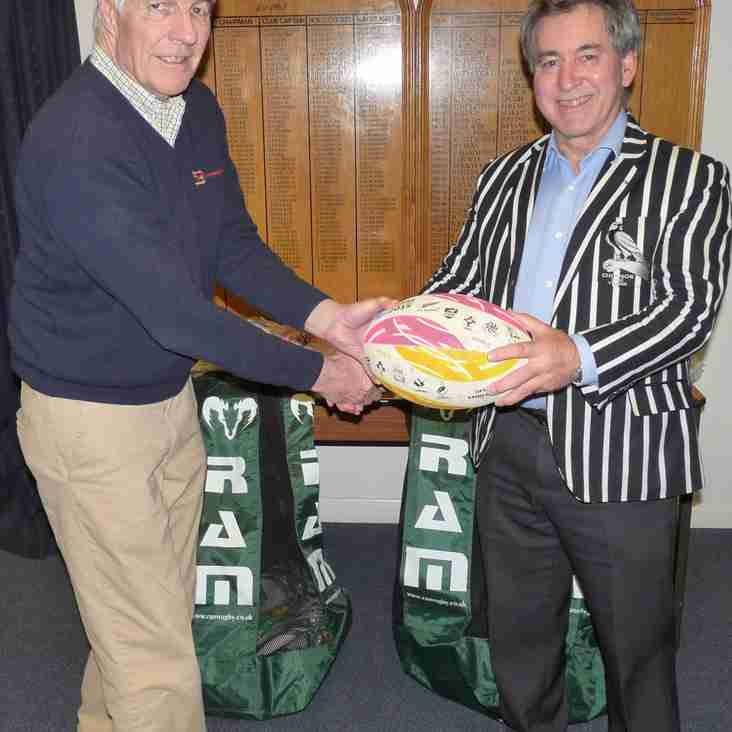 Oxfordshire RFU Present Chinnor RFC with Training Balls