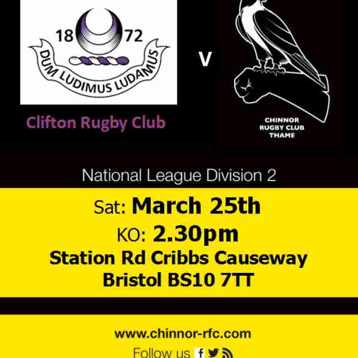 Clifton v Chinnor Saturday 25th March