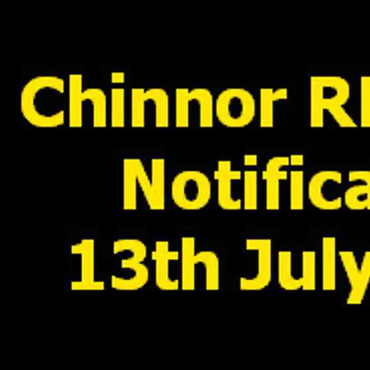Chinnor RFC AGM Thursday 13th July 2017