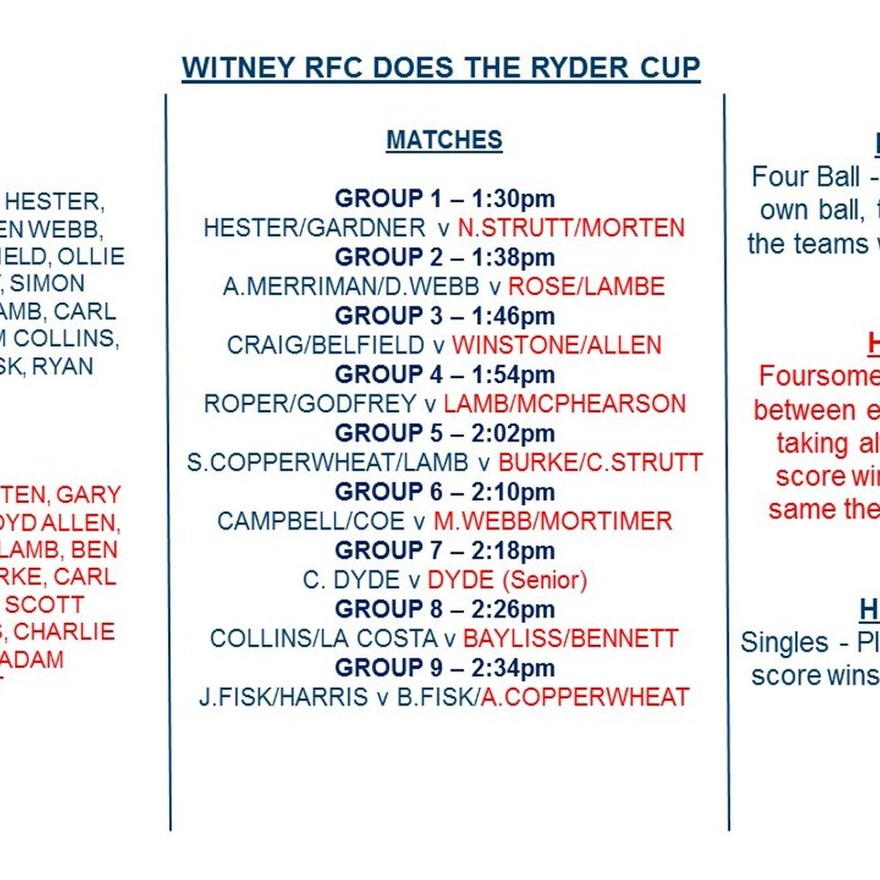 RYDER CUP 2017 - GROUPS & TEE OFF TIMES