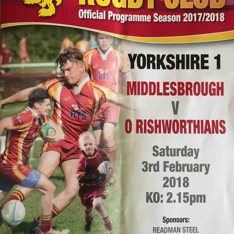 Middlesbrough 19 v 13 Old Rishworthians 3rd Feb 2018