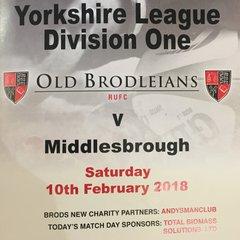 Old Brodleians 12 v 27 Middlesbrough 10th Feb 2017