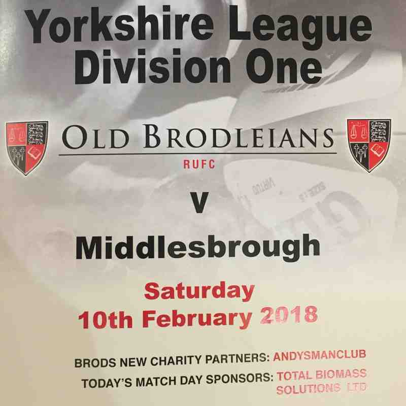 Old Brodleians 12 v 27 Middlesbrough - 10th Feb 2017