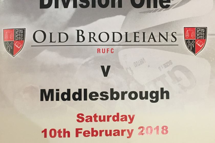 Old Brodleians 12 v 27 Middlesbrough 10th Feb 2017