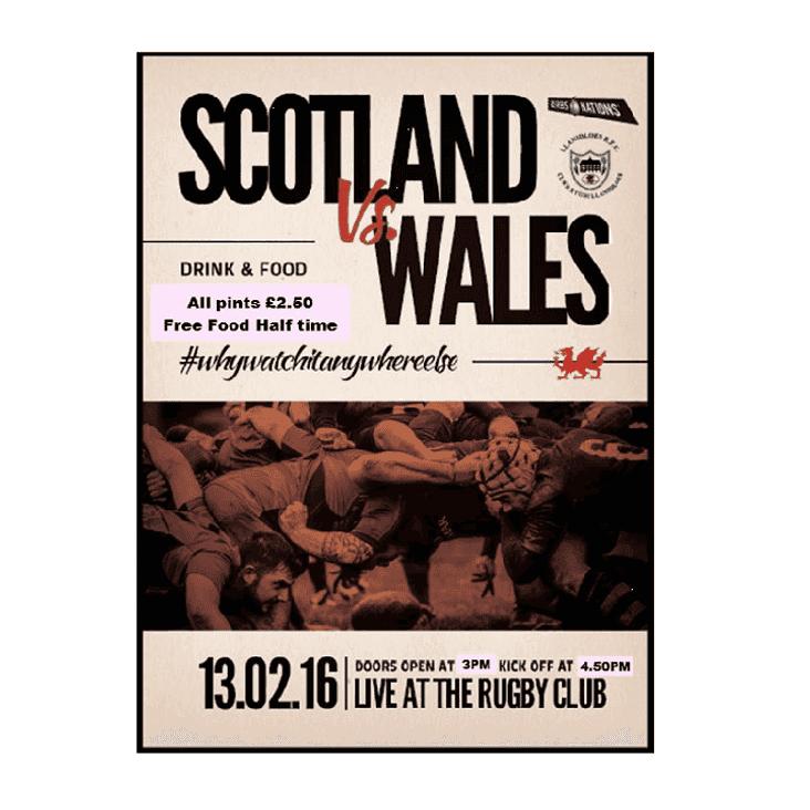 Wales v Scotland - SATURDAY 4:50pm