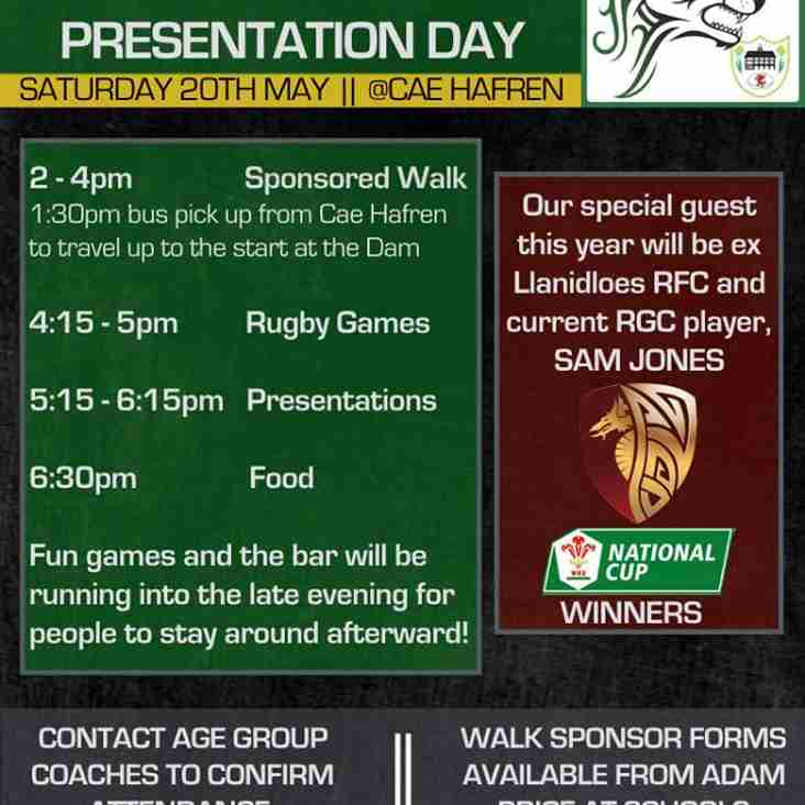 Junior / Minis Presenation -> Saturday 20th May