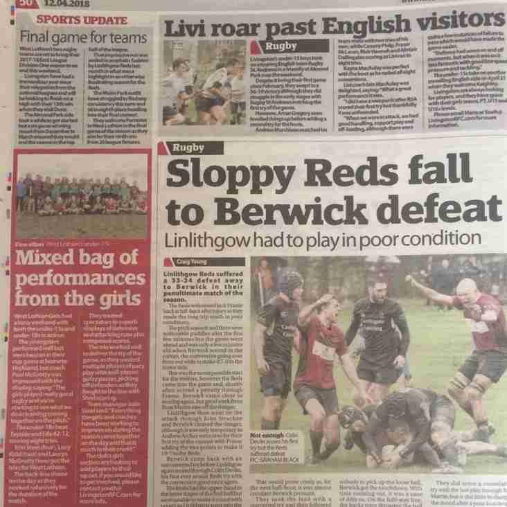 #LiviRFC Match Reports: 1st XV, U15 boys and Girls Teams
