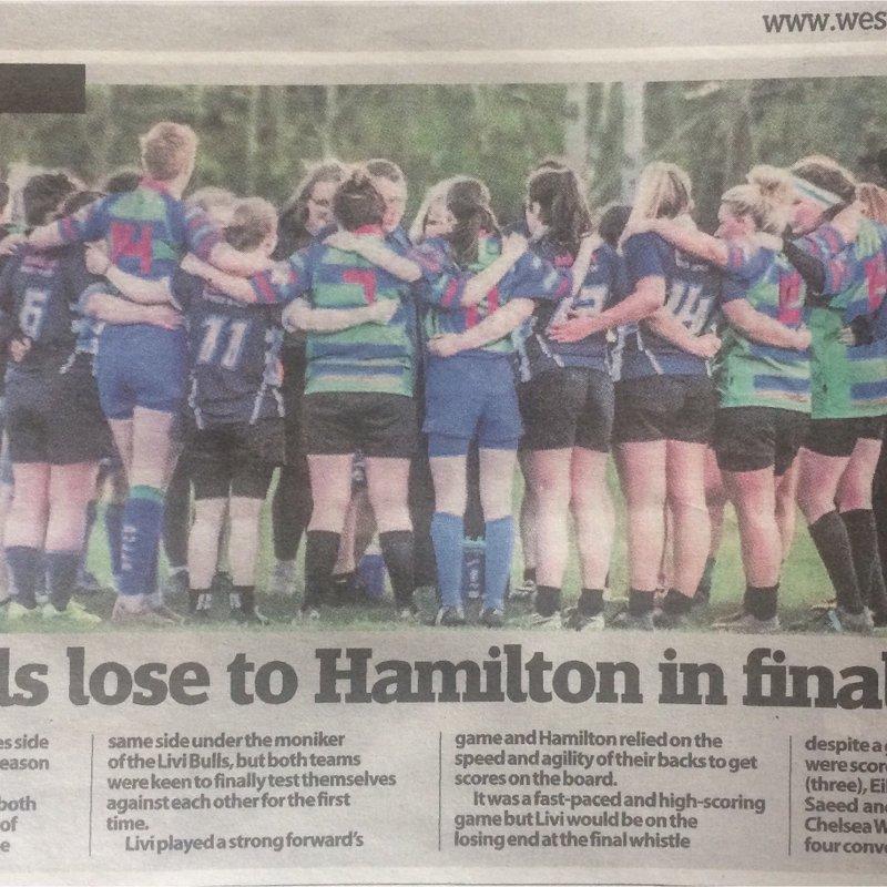 LiviRFC Match Report - Livi girls lose to Hamilton in final game