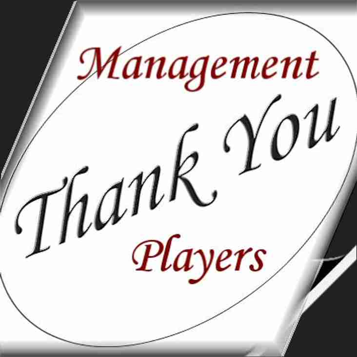 Thank You to our Management team and all our Players!!