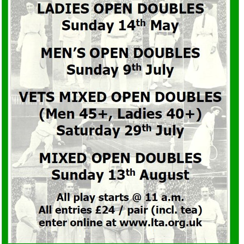 Open Doubles Tournaments at EALTS this summer