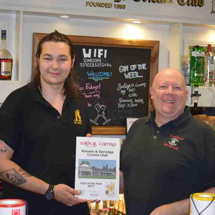K&D wins Solihull CAMRA Club of the Year Award 2017