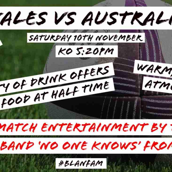 Wales Vs Australia - 10/11/2018