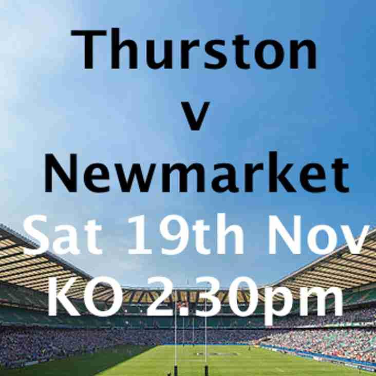 1st Team away to Thurston on Saturday.  KO 2.30pm.  Wrap up warm!