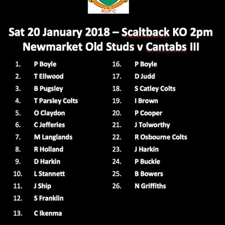 The Team for the Studs v Cantabs III on Saturday 20-Jan