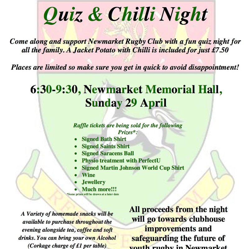 Quiz & Chilli Night on Sunday 29 April