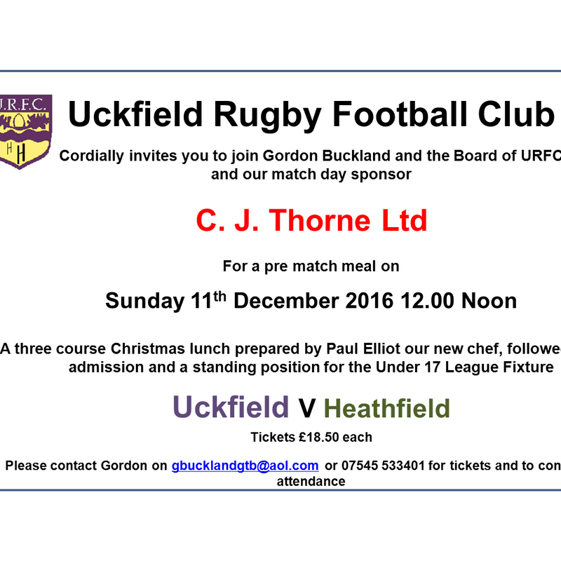 Under 17 Pre Match Christmas meal Dec 11th 12 Noon