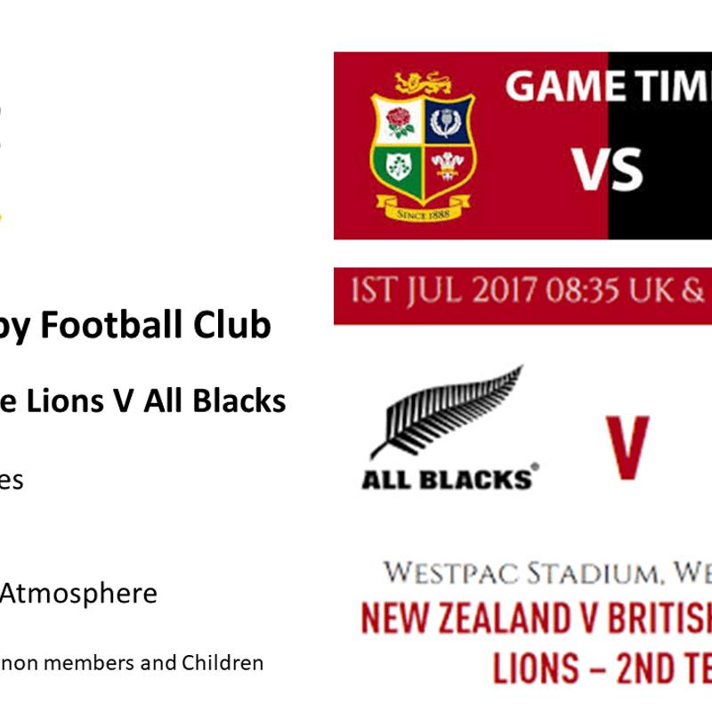 Come Watch NZ All Blacks V The Lions