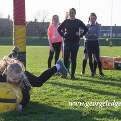 Consett U'14s Girls Rugby training