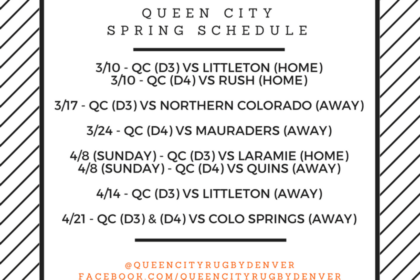 Queen City D3 & D4 Spring Schedule!