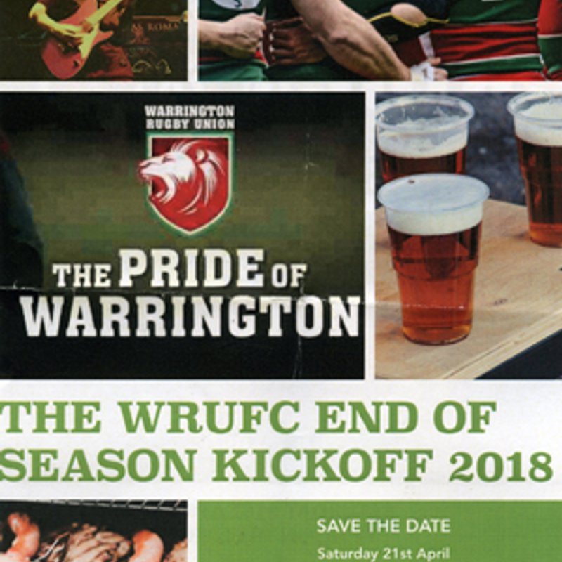 The WRUFC End of Season Kickoff  - Sat 21st April