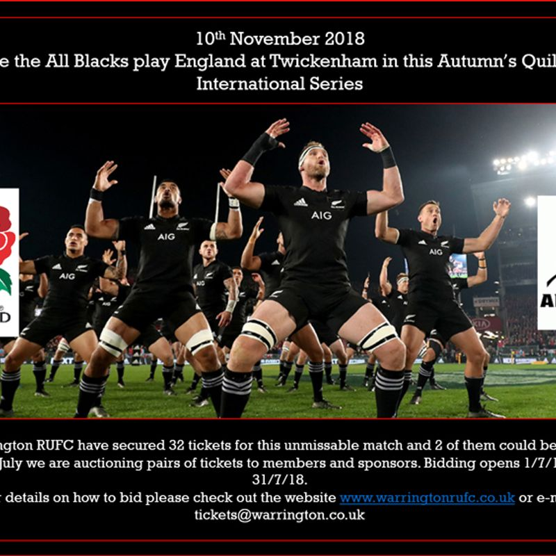 Auction - England v New Zealand Nov 2018 Tickets