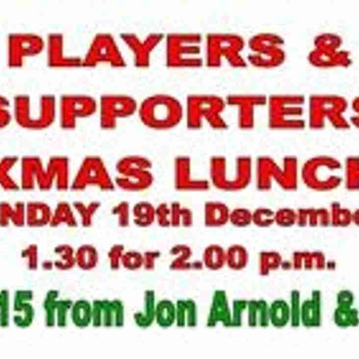 PLAYER'S & SUPPORTER'S XMAS LUNCH 19th DEC