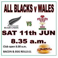 ALL BLACKS v WALES & BACON BUTTIES (11th Jun 8.35 am)