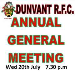 ANNUAL GENERAL MEETING (Wed 20th July)