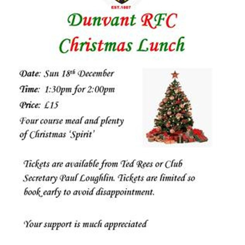 PLAYERS & SUPPORTERS XMAS LUNCH (18th Dec)