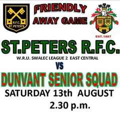 DUNVANT SQUAD TRAVEL TO ST.PETER'S FOR 2nd PRE-SEASON GAME (13th Aug)