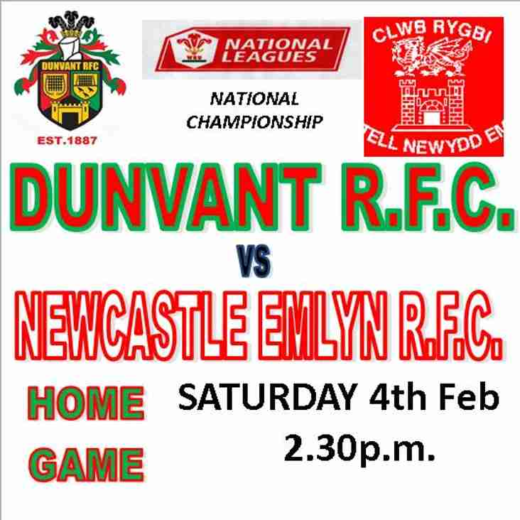 DUNVANT HOST NEWCASTLE EMLYN THIS SATURDAY (Feb 4th)