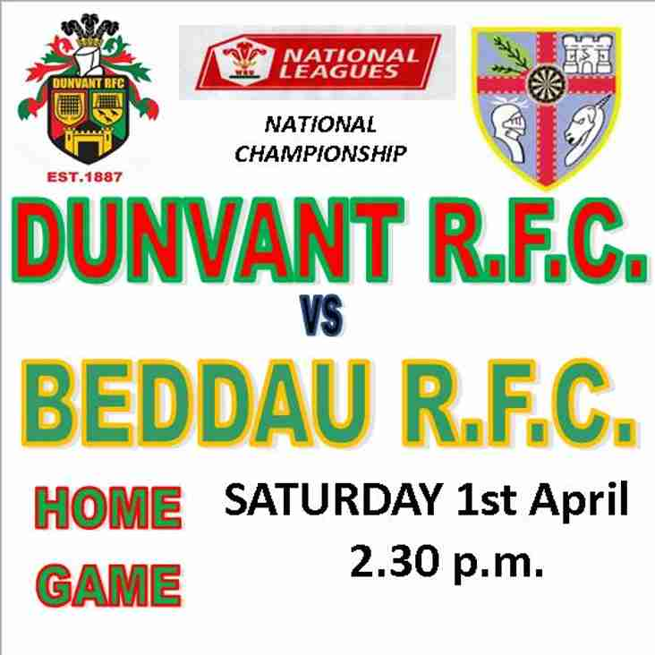 DUNVANT WELCOME BEDDAU TO BROADACRE (Apr 1st)