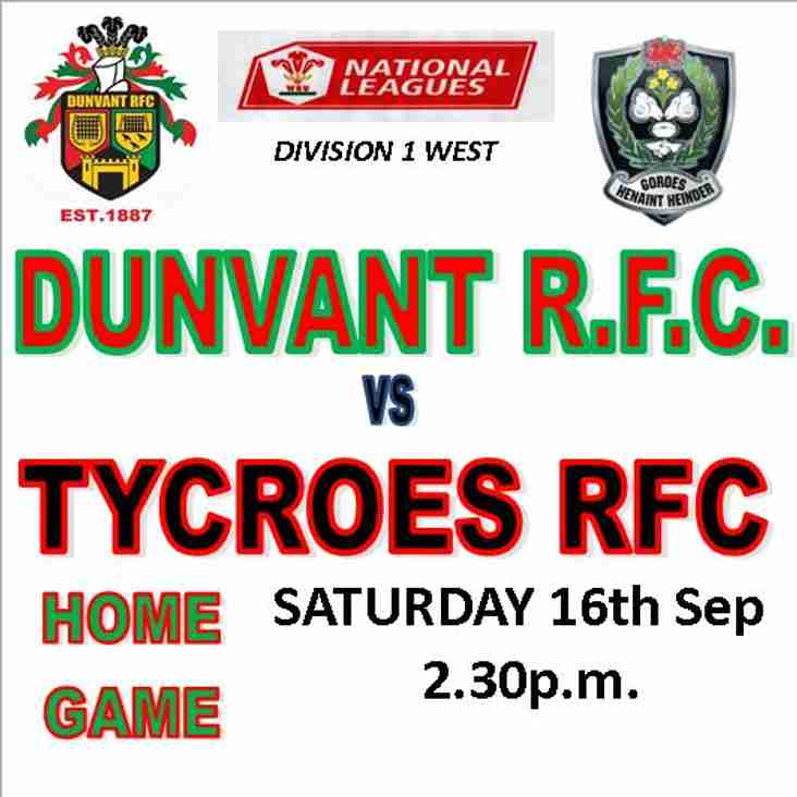 DUNVANT WELCOME NEW BOYS TYCROES R.F.C.TO BROADACRE (Sep16th)