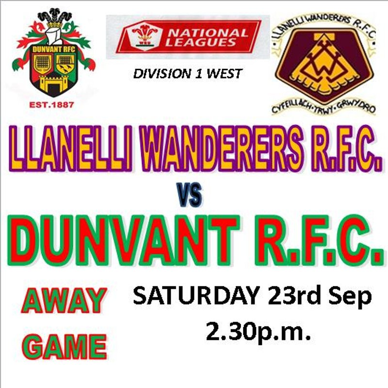 DUNVANT  TRAVEL TO STRADEY PARK TO FACE THE WANDERERS(23rd Sep)