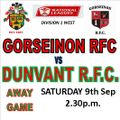 DUNVANT  WIN BUT GORSEINON BATTLE ALL THE WAY (9th Sep)