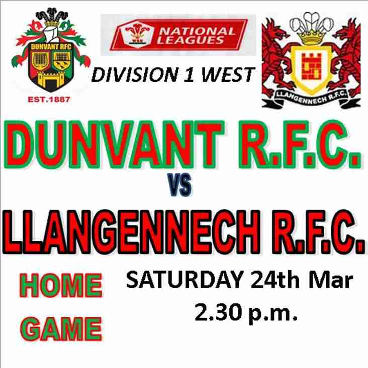 DUNVANT HOST LLANGENNECH  THIS SATURDAY (Mar 24th)