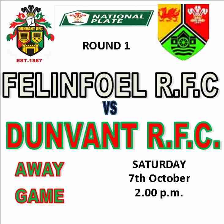 AWAY DRAW FOR DUNVANT IN WRU PLATE Rd 1 (7th Oct)