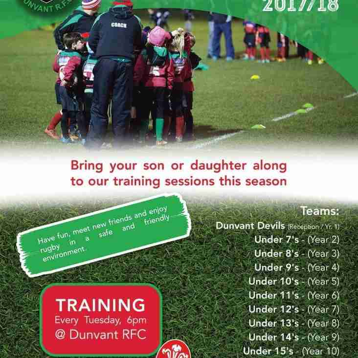 DUNVANT JUNIORS & MINIS RECRUITING AT ALL AGES FROM UNDER 5/6