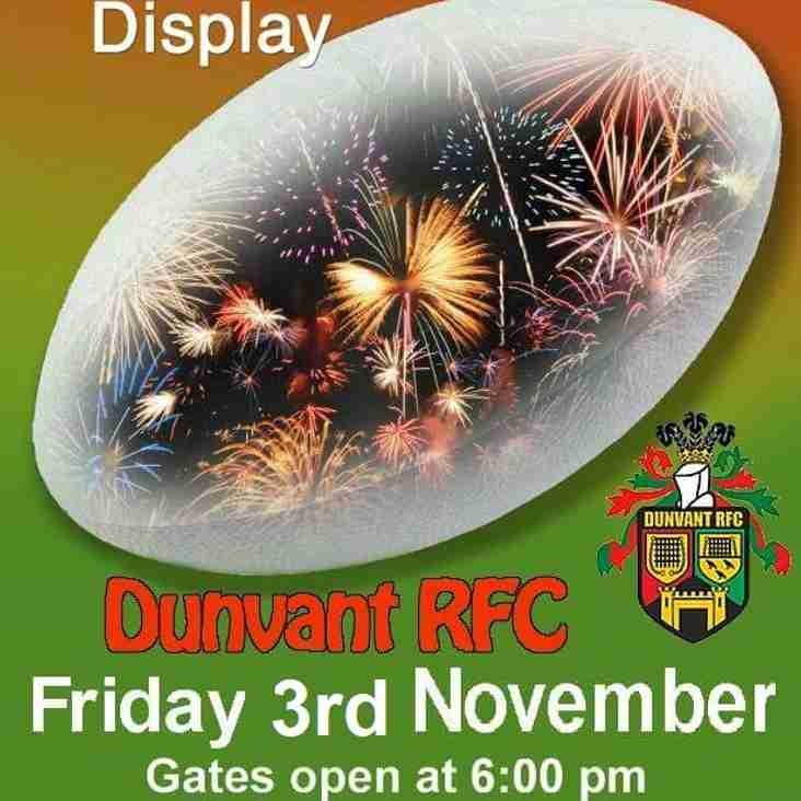 DUNVANT RFC FIREWORKS DISPLAY Fri 3rd NOV