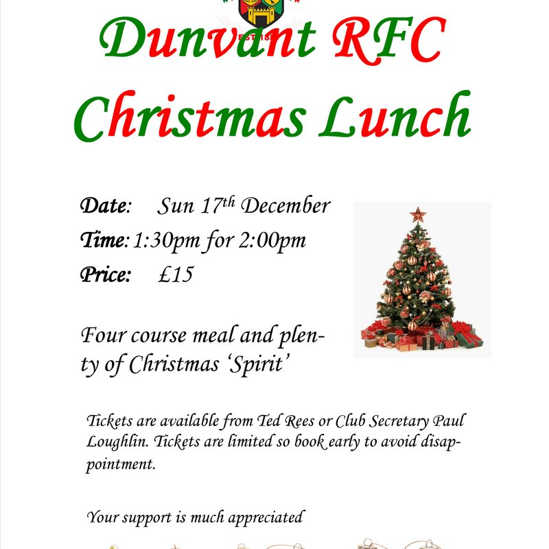 PLAYERS' & SUPPORTERS' XMAS LUNCH (Dec 17th)
