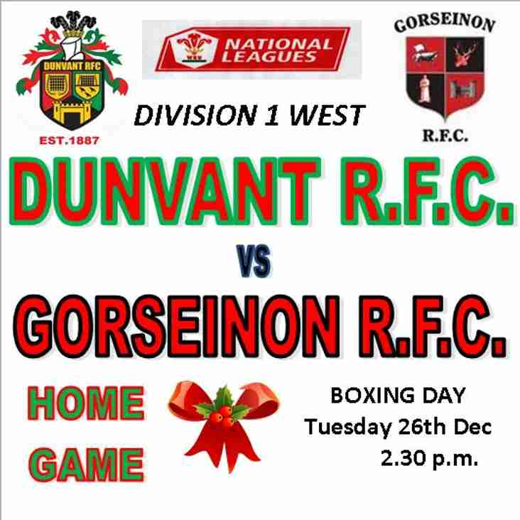 OUR FESTIVE FIXTURE ON BOXING DAY WELCOMES GORSEINON TO BROADACRE (26th Dec)