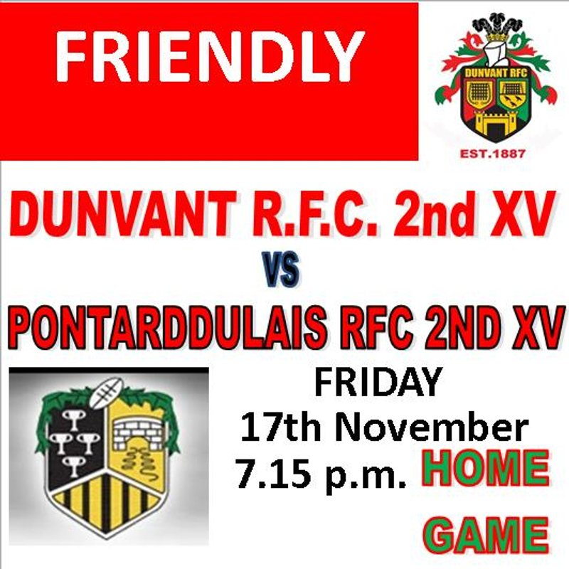 FRIENDLY THIS FRIDAY v BONT (Nov17th) & OTHER CHANGES