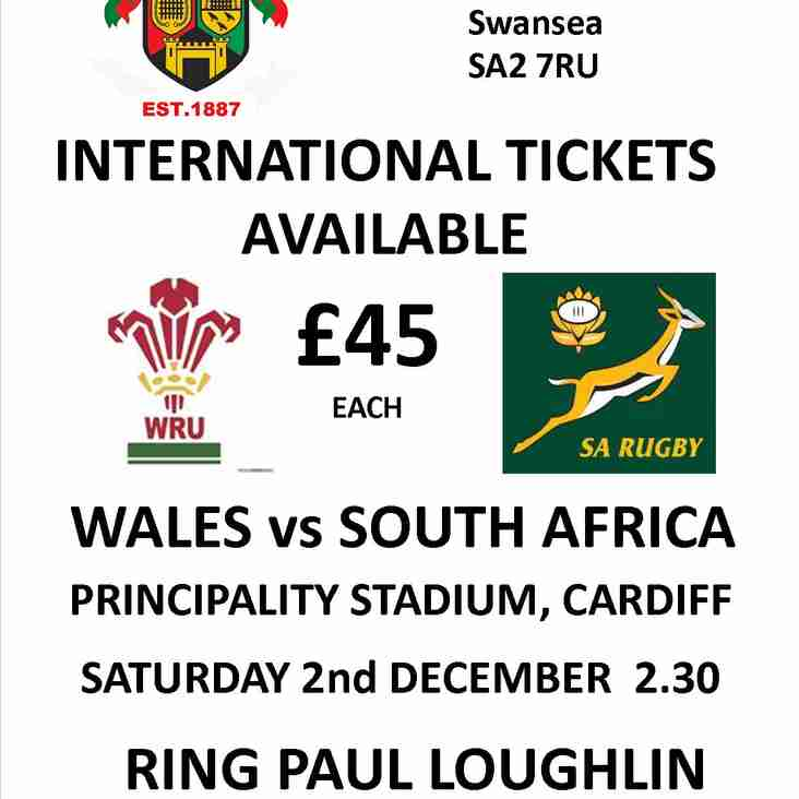 WALES v SOUTH AFRICA TICKETS AVAILABLE