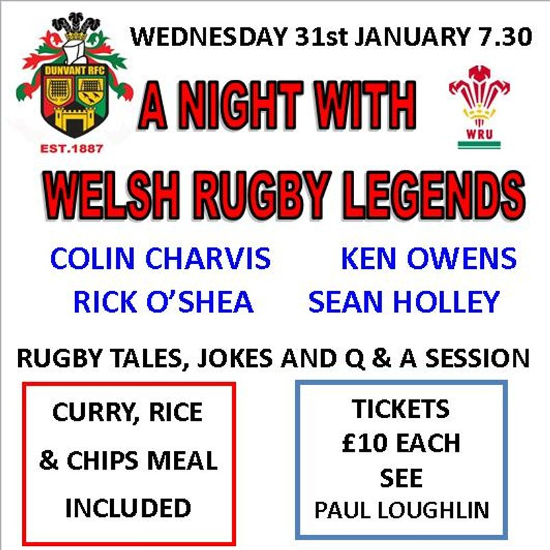 A NIGHT WITH WELSH RUGBY LEGENDS