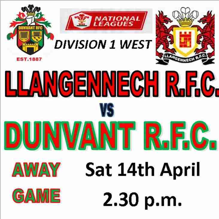 BIG FIGHTBACK BY DUNVANT AT LLANGENNECH TO TAKE 5 POINTS (Apr14)