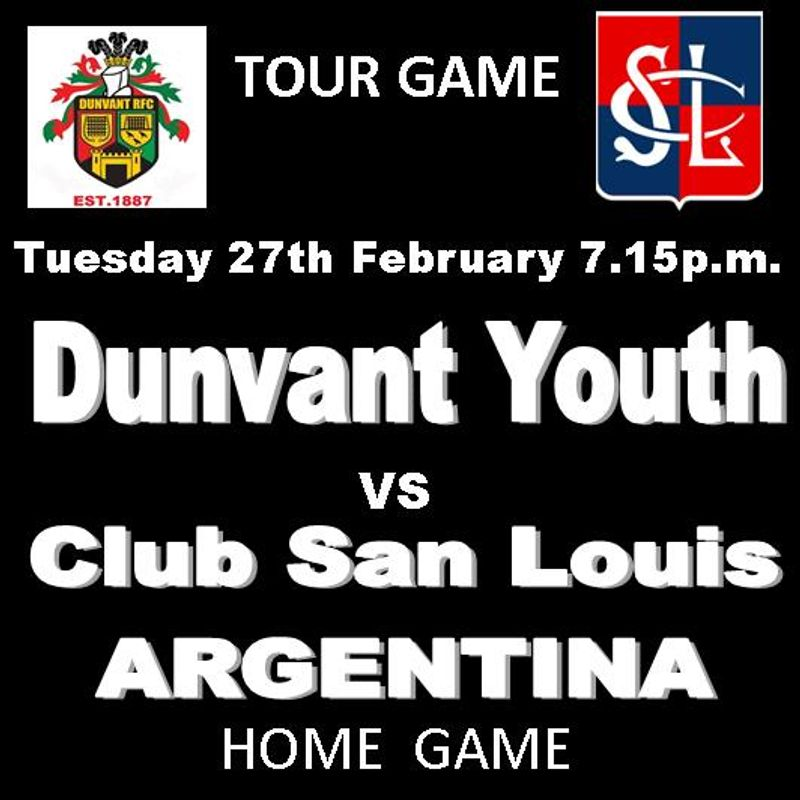 DUNVANT YOUTH HOST ARGENTINIAN TOURING SIDE (Tue 27thFeb)
