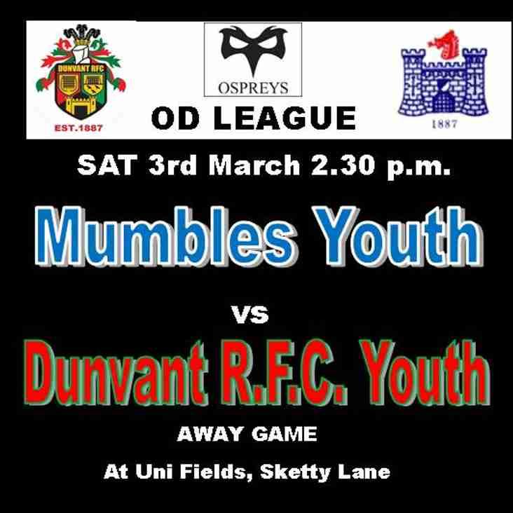 MUMBLES v DUNVANT YOUTH IS DEFINITELY ON (3rdMar 2.30)