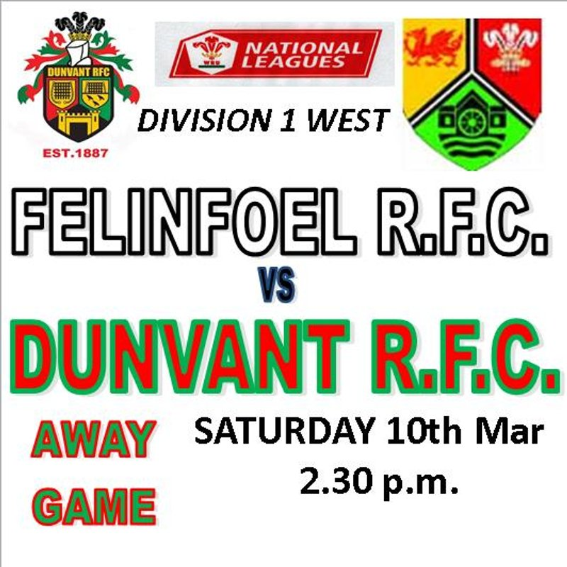 FELINFOEL EXTEND LEAD AT TOP AFTER  VICTORY OVER DUNVANT (Mar 10th)