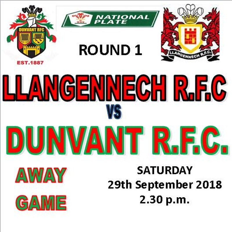 WRU NATIONAL PLATE-AWAY DRAW FOR DUNVANT (29th Sep)