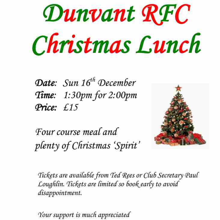 PLAYERS & SUPPORTERS XMAS LUNCH (Dec16th)